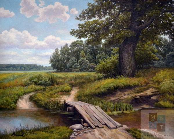 Пейзаж мостик у дуба художник мельников александр