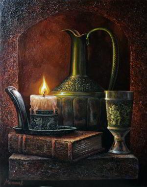 натюрморт горящая свеча художник мельников александр