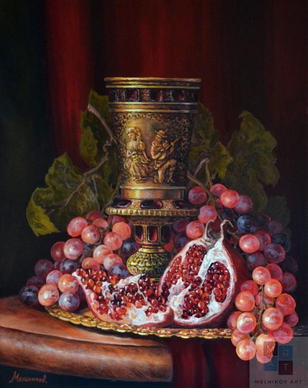 Натюрморт Бокал с виноградом
